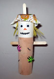 Halloween/Fall Craft for kids- toilet paper tube Scarecrow