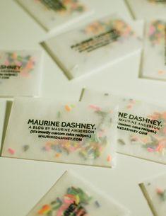 Make business cards with glassine envelopes and sprinkles. Make Business Cards, Business Card Maker, Baking Business Cards, Creative Business Cards, Letterpress Business Cards, Corporate Design, Business Card Design, Business Ideas, Packaging Design