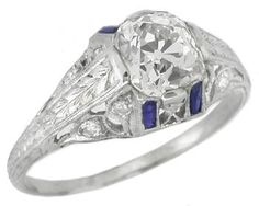 Art Deco 1.51ct Diamond Sapphire Platinum Engagement Ring