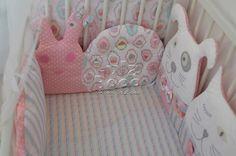 Baby nursery room decor, crib bumper,  crib bedding for girl. Personal named cloud pillow. Snail bomper pillow.