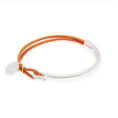 'Orne' Two strands of soft orange leather hooked to a silver plated bar