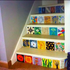 Have each patient &/or paint a square? Painted Stairs, Painted Floors, Painted Furniture, Stair Steps, Stair Risers, Glass Painting Designs, Paint Designs, Busy Bee Daycare, Stair Art