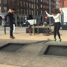 'This city is so funny. It has random trampolines in the street, just in case you fancy a bounce #Copenhagen' @stinasanders on intagram