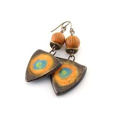 Brown Orange and Blue Ceramic Earrings  Rustic by CinLynnBoutique
