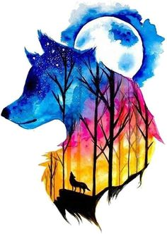 Beautiful And Colorful Wolf Drawing - Colorful Wolf Watercolour With Images Art Painting Galaxy Art Colorful Wolf Colored Pencil And Mixed Media Drawing By Beautiful Wolf Art Wolf Painting. Cool Art Drawings, Cute Animal Drawings, Art Drawings Sketches, Wolf Wallpaper, Animal Wallpaper, Marshmello Wallpapers, Mythical Creatures Art, Fantasy Creatures, Wolf Artwork