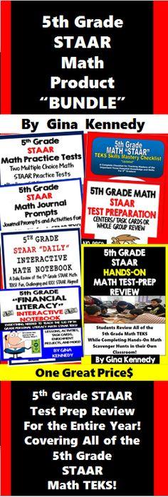 5th Grade STAAR Math Test-Prep Product BUNDLE