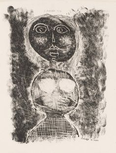Jean Dubuffet (1901 – 1985)  1944 Matter and Memory, Ingenue lithograph 33.3 x 25.4 cm © 2011 Artists Rights Society (ARS), New York