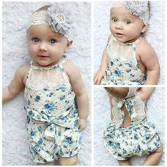 Newborn Infant Baby Girl Bodysuit Floral Romper Jumpsuit Outfit Sunsuit US Stock