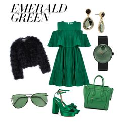 """""""Green is love"""" by ioana-adelina-1 on Polyvore featuring CÉLINE, Tabitha Simmons, Chelsea28, Jovonna, Movado, Kenneth Cole, Sener Besim and emeraldgreen"""
