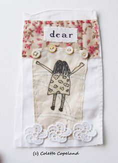 Textile art small art quilt little girl arms by ColetteCopeland