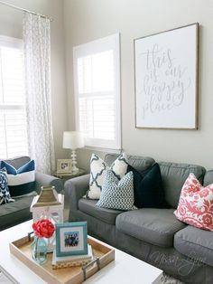 Gray and Navy Living Room. Gray and Navy Living Room. A Fresh Living Room with Pops Of Colors Navy Aqua Gray and Coastal Living Rooms, Tan Living Room, Living Room Red, Living Room Loft, Coral Living Rooms, Navy Living Rooms, Beach Living Room, Living Room Grey, Yellow Living Room