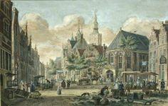 Dagelijkse groenmarkt, door P.C. la Fargue (1765) met rechts in het midden de Kapel van het St. Nicolaas Gasthuis.