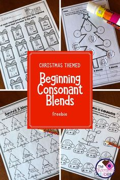 Are you looking for some fun phonics worksheets to use during the month of December? This beginning consonant blend free unit should end your looking! There are 4 worksheets for your students to complete. They are fun and perfect for a first grade stude Consonant Blends Worksheets, Phonics Worksheets, Christmas Activities, Christmas Themes, Winter Activities, Teaching Phonics, Kindergarten Phonics, First Grade Phonics, December