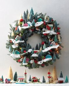 Miniature Village Wreath with bottle brush trees. ~ Love it! but a lot of work and money.
