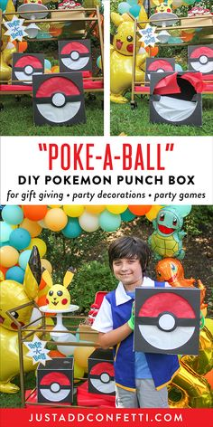 "If you are looking for a cute Pokemon themed DIY for gift giving or to use as a party game these ""Poke-a-Ball"" Pokemon punch boxes are such a great idea! They are very easy to assemble and really inexpensive too. Also, you can arrange them around the party and they double as fun Pokemon party decorations! At Sawyer's recent Pokemon Birthday Party, I surprised him by putting his gifts in these punch boxes. I think they could also easily be incorporated into a fun Pokemon party game."