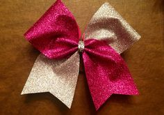 Cheer Bow  Hot Pink and Silver Glitter by FullBidBows on Etsy, $13.00