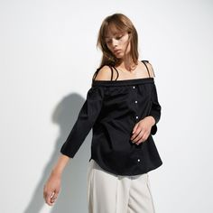 FWSS Corner is a cotton off-the-shoulder shirt with stretch shoulders and adjustable tie-up shoulder straps. Shoulder Straps, Off The Shoulder, Fall Winter Spring Summer, Shoulder Shirts, Corner, Tie, Elegant, Cotton, Shopping