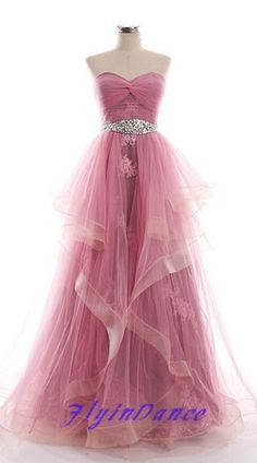 Hot Pink Prom Dress Ball Gowns Sweetheart Crystals Ruffles Tulle Maids Bright Pink Party Dress