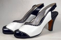 WHITE LEATHER with BLACK PATENT 1940's VINTAGE WOMEN'S SPECTATOR PEEP TOE PUMPS - DeLISO DEBS - ESTIMATED SZ. 9 - AVAILABLE AT RPVINTAGE.COM