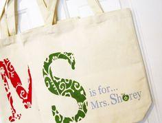 DIY Teacher Appreciation Gift. http://www.bjcraftsupplies.com/generalCrafts/canvas-tote-bags01.asp