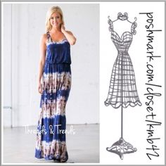 """Indigo Tie Dye Maxi Tank Dress (3 Sizes) Indigo and mocha tie dye maxi dress. Tank top flounce style bodice. Made of rayon and spandex. Size S, M, L length about 43"""". Threads & Trends Dresses"""