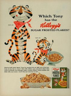 Tony The Tiger, Jr. The Best Resource on the Net of Vintage Ads! See Tony The Tiger, Jr. in the ads below: Kelloggs Frosted… Vintage Ads Food, Vintage Cartoon, Vintage Recipes, Retro Vintage, Old Advertisements, Retro Advertising, Retro Ads, Cartoon Photo, Cartoon Art