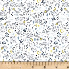 Dear Stella Luna Fox Tales White from @fabricdotcom From Dear Stella, this cotton print fabric features colorful foxes and is perfect for quilting, apparel, and home decor accents. Colors include yellow, white, navy, blue and shades of grey.