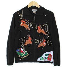 Santa and His Reindeer Tacky Ugly Christmas Sweater
