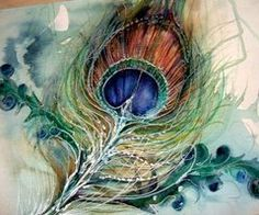 Peacock Feather, Watercolor, Painting, Illustration, Art