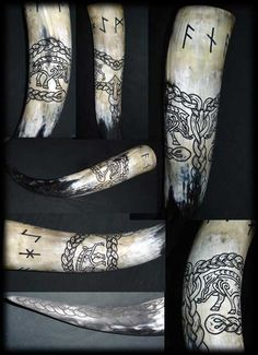 Carved Drinking Horn Vanaheim by Wodenswolf.deviantart.com