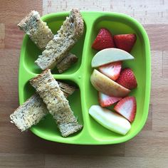Breakfast  Avocado buttered toast, Apple and strawberries.
