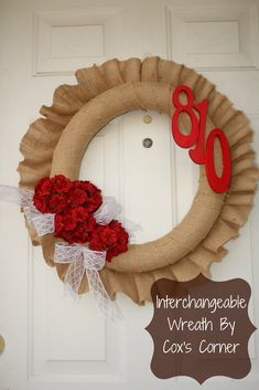 Burlap wreath from pool noodle. The Taylor House: Cox's Corner Interchangeable Wreath
