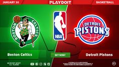 Monday, Monday, Monday! Start your week with Playdoit and NBA betting on Boston Celtics vs Detroit Pistons! 🏀 Regster now and be a winner today! 😉👍