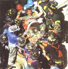 Pulling a survivor from the WTC rubble.