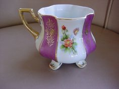 Royal Sealy Tea Cup 8 Panel Lavender On White W/ Pink Florals & Gold Leaf