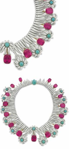 d8704a1a73a A MULTI-GEM AND DIAMOND  HEDGES AND ROWS  NECKLACE