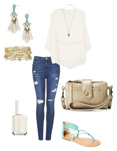 """Untitled #343"" by kmysoccer on Polyvore featuring Topshop, MANGO, BaubleBar, Panacea, Gemma Simone, TIARA, Relic and Essie"