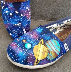 Hand painted Orion& planets Tom shoes by InSensDen on Etsy, $109.00