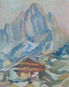 Ermanno Besozzi pittore 1953 Baite in montagna (Trentino) olio su cartone cm. 30x24 arc. 1322