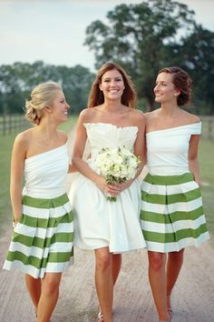 Southern-Weddings-Green-White-Striped-Bridesmaid-Skirts. Love the stripes! And the style of the tops is pretty cool, too.