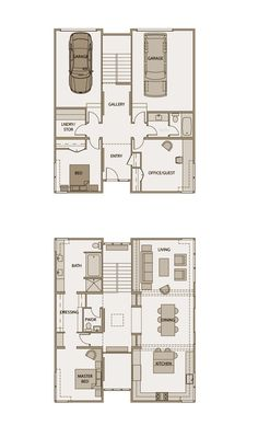 Stillwater Dwellings Floorplan sd231. This 2360 sq.ft. floor plan is ideal for a lot with a sweeping upper floor view. A double height entry, two bedrooms, and two-car garage complete the ground floor. The upper floor includes a spacious master suite and open living area under the signature Stillwater butterfly roof. An ample kitchen with island and sheltered deck make this a great home for entertaining.  To view a more detailed floor plan visit: stillwaterdwellings.com