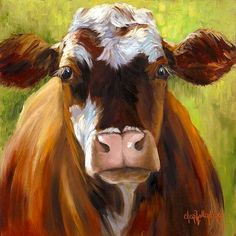 Animal Painting Mozart Motley Cow 12x12 Canvas by ChatterBoxArt, $165.00