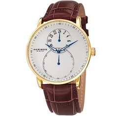 Akribos XXIV Men's Multifunction Quartz Leather Gold-Tone Strap Watch - Free Shipping Today - Overstock.com - 17762993