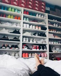 Mega Sneaker Collection for the ladies . from Nike to adidas is all there! How do you store your sneakers? pic by Janice Helsoe Sneaker Collection, Shoe Collection, Sneaker Storage, Shoe Storage, Storage Organization, Clothes Storage, Kids Storage, Storage Ideas, Shoe Room