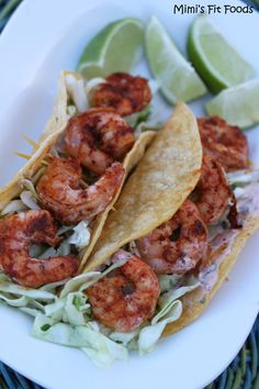 Baja Grilled Shrimp Tacos _ This recipe is delightful! I personally think that it is restaurant-worthy! They taste fresh, have a bit of spice, & they have a nice smoky flavor (thank you chipotle peppers & cumin!).