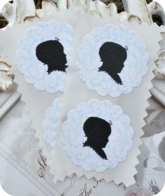 Baby Boy Silhouette Stickers / Seals - Vintage Inspired - Set of 12 - 1.5 inch scallop round - Tags - Toppers on Etsy, $5.95