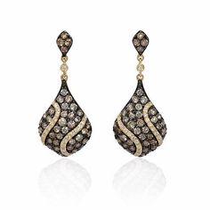 Diamond 14k Yellow Gold Dangle Earrings