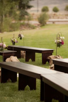 I like these benches.    A Big Sky Country wedding Reverie Magazine | Fall 2012 Photography by Erin Kate Photography