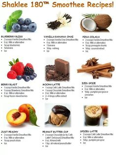 Shaklee 180 Smoothies This is such a help when thinking up new combinations of smoothees!