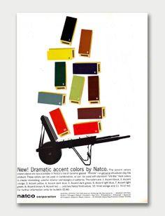NATCO ad from Progressive Architecture magazine, 1961. Love those '61 colors!